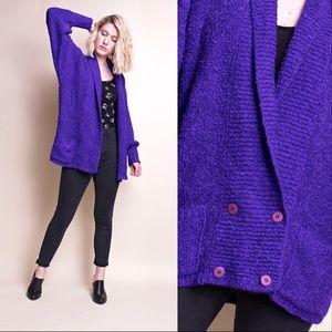 Vintage 80s purple boucle nubby knit cardigan